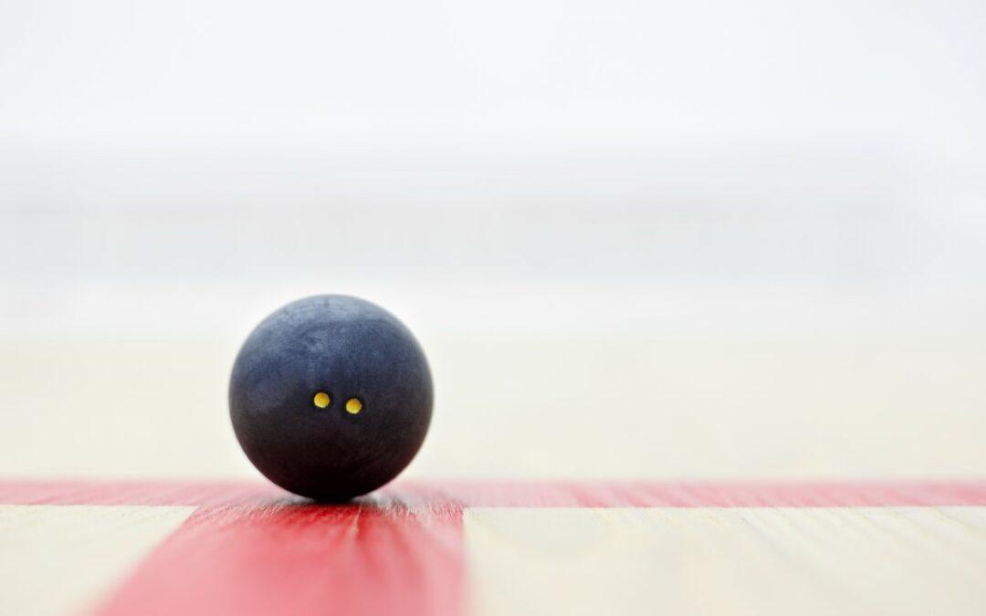 Squash court and ball.